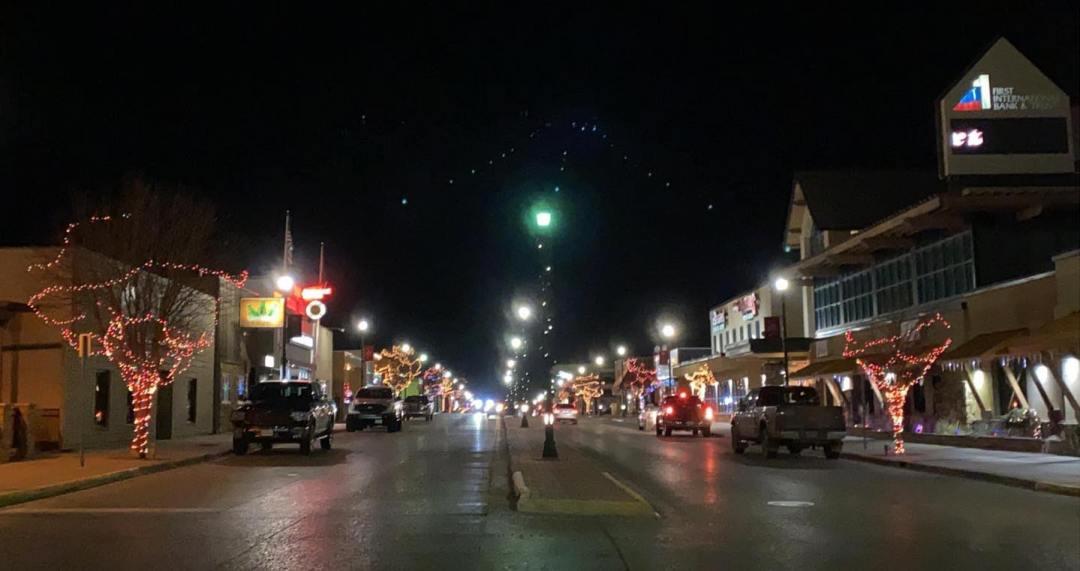 Operation Light Up Main Street 2020 Watford City, North Dakota. Photo from Facebook page Watford City, North Dakota.
