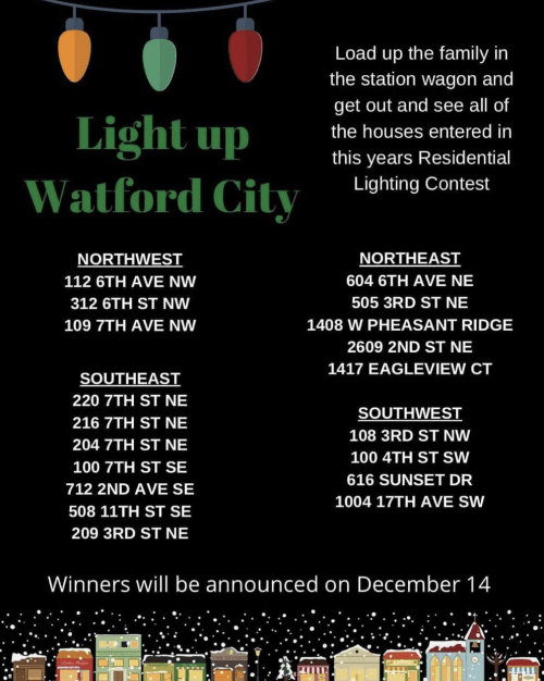 Load up the family in the station wagon and get out and see all of the houses entered in this year's Residential Lighting Contest..... photo courtesy Watford City Area Chamber of Commerce, Facebook.