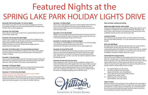 Schedule of events for the 2020 Spring Lake Park Holiday Lights Drive in Williston, North Dakota. Photo courtesy Spring Lake Park Holiday Lights Drive Facebook page.