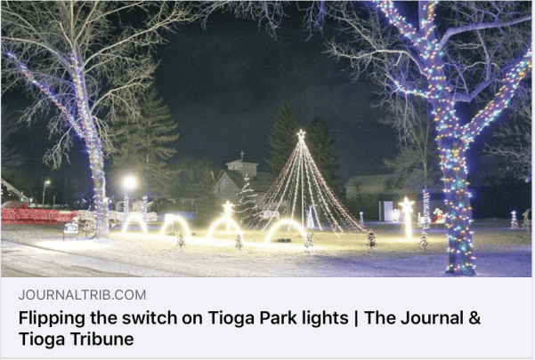 Tioga, North Dakota lights the park with its engaging Christmas light display! Photo from the Facebook page of the The Journal & Tioga Tribune.
