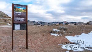 The Old East Entrance Trail in the South Unit of Theodore Roosevelt National Park in North Dakota is an easy 0.8 mile hike to the vacant stone building which once connected the park to Old Highway 10.
