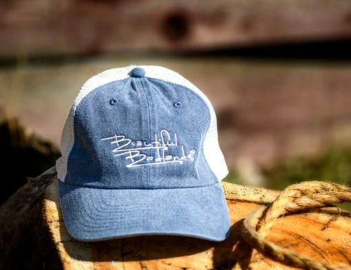 denim blue mesh trucker cap