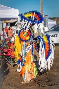 Colorful regalia dancer Little Shell Powwow