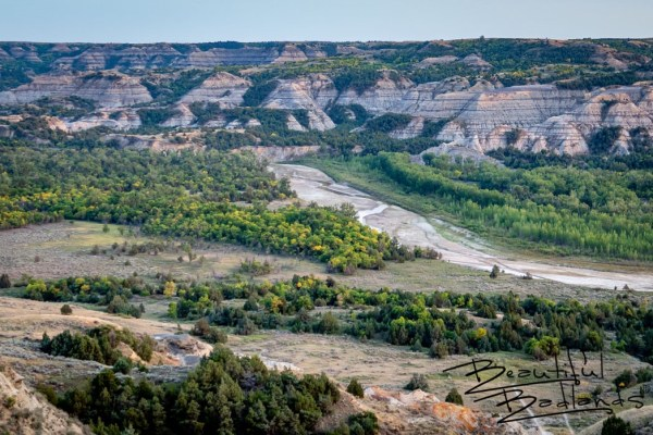 First fall colors on the Little Missouri River North Unit Theodore Roosevelt National Park North Dakota
