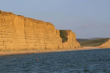 East Cliff and Burton Freshwater from West Bay, near Bridport