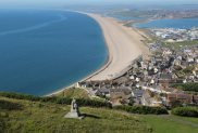 The Spirit of Portland sculpture and Chesil Beach, Portland