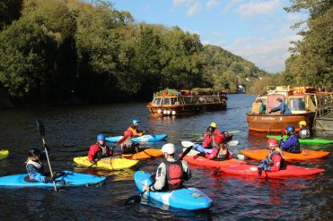 Canoeing and 'Wye Pride', Kingfisher Cruises, River Wye, Symonds Yat