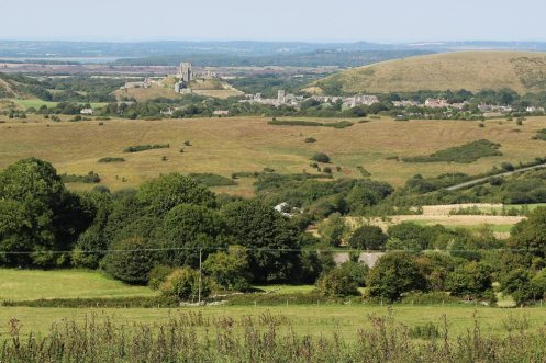 Corfe Castle and Corfe village, from Kingston
