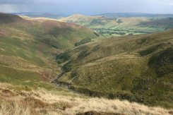 Grindsbrook Clough and the Great Ridge, from Upper Tor, Kinder Plateau