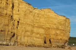 Imminent rock fall, Burton Cliff, Hive Beach, Burton Bradstock