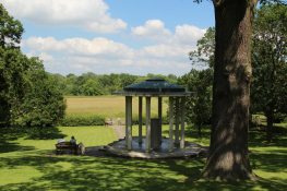 Looking towards meadows, from Magna Carta Memorial, Runnymede