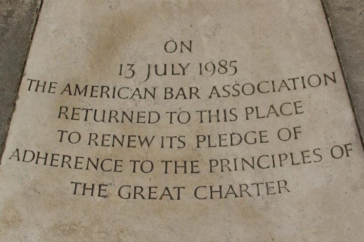 Stone commemorating rededication of Magna Carta Monument, by American Bar Association, 13th July 1985, Runnymede
