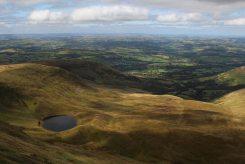 Llyn Cwm Llwch and Cwm Llwch, from path to Corn Du, Brecon Beacons