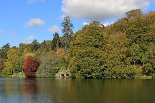 Boat House, across Lake, Stourhead