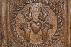 Oak Easter Sepulchre, panel depicting the wounds of Christ, St. Sannan's Church, Bedwellty
