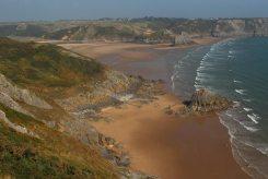 Three Cliffs Bay, from cliffs, Penmaen Burrows, Gower