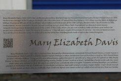 Biography of Mary Elizabeth Davis, on stainless steel artwork, Tredegar