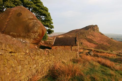 Boulder in garden of Rockhall Cottage and Hen Cloud, The Roaches