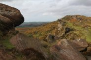 Gritstone boulders, summit of Hen Cloud, The Roaches