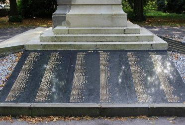 Names on War Memorial, Bedwellty Park, Tredegar