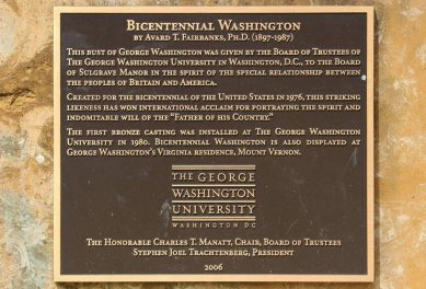 Plaque on Bicentennial Washington, bust of George Washington, Sulgrave Manor, Sulgrave