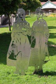 Stainless steel artwork, representing Ann Prosser and Mary Jones, Bedwellty Park, Tredegar