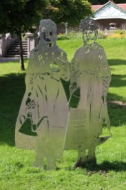 Stainless steel artwork, representing Ann Prosser and Mary Jones, Bedwellty Park, Tredegar
