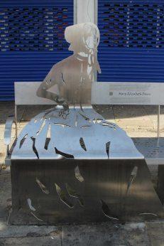 Stainless steel artwork, representing Mary Elizabeth Davis, Tredegar