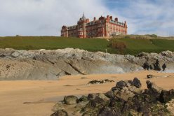 The Headland Hotel, from Fistral Beach, Newquay