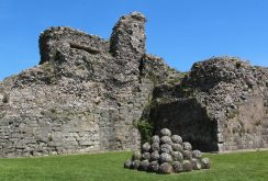 Catapult Stones and the Keep, Inner Bailey, Pevensey Castle, Pevensey