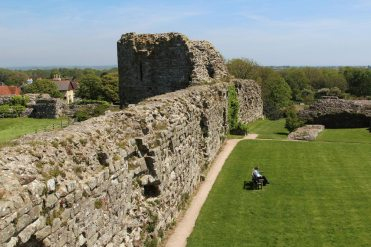 East Tower, from the North Tower, Inner Bailey, Pevensey Castle, Pevensey