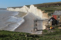 Aftermath of storms 2014, beach closed, Birling Gap