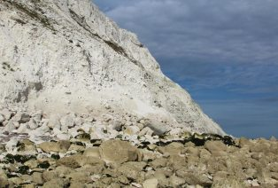 Chalk cliff fall and boulders, Falling Sands, Beachy Head