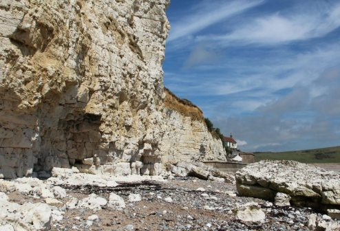 Chalk cliffs and Cable House, beach approaching Cuckmere Haven, from Hope Gap