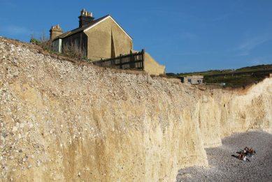 Former coastguard's cottage and cliff erosion, Birling Gap