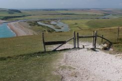 South Downs Way footpath to River Cuckmere and Cuckmere Haven, Seven Sisters