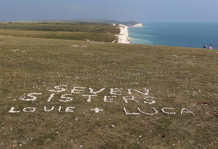 Visitors names and places in chalk, Seven Sisters