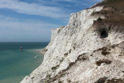 Crumbling chalk cliffs and rabbit hole, Beachy Head