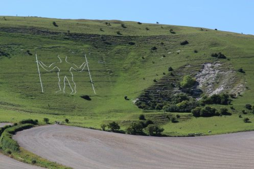 Long Man of Wilmington and chalk pit, Wilmington