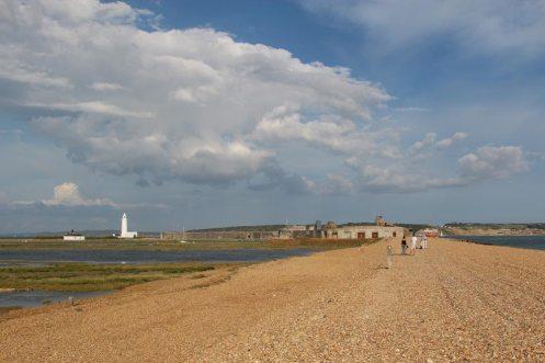 Hurst Castle and Hurst Lighthouse, from Hurst Spit, Milford-on-Sea