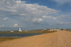 Hurst Castle and Hurst Lighthouse, from Hurst Spit, Milford-on-Sea