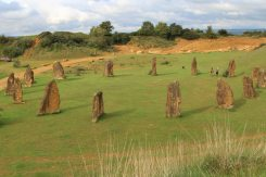 Millennium Project Stone Circle, from Iron Age Ramparts, Ham Hill Country Park