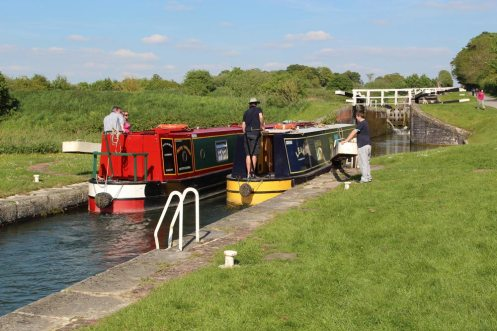 Narrowboats, Caen Hill Flight Lock, Kennet and Avon Canal, Rowde