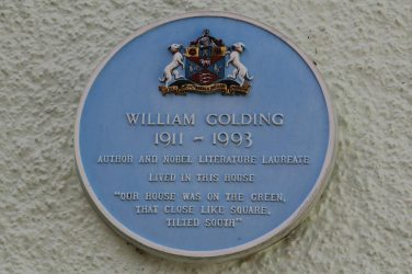 Plaque on William Golding's house, The Green, Marlborough