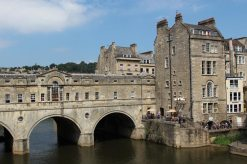 Pulteney Bridge and Riverside Cafe and Restaurant, River Avon, Bath