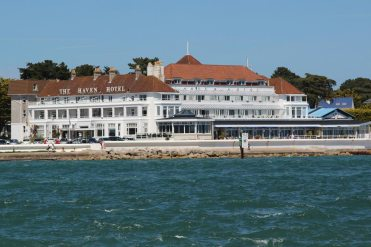 Haven Hotel, Sandbanks, from Shell Bay, Studland