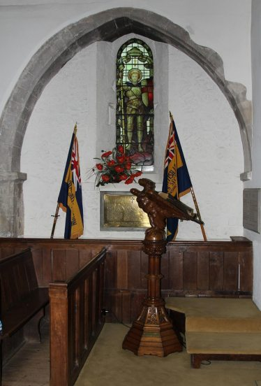 St. George's stained glass window and Lectern, St. James' Church, Shere