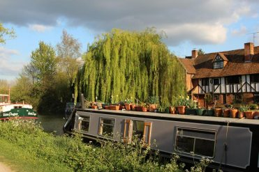 """Greyfisher"" narrowboat and The Malthouse Cottages, Kennet and Avon Canal, Aldermaston Wharf"