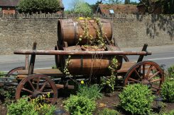 Beer barrel cart, The Woolpack pub, Elstead