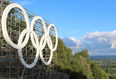 Olympic Rings, Box Hill. London 2012 Olympic Cycling Road Race